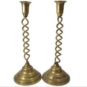 "VTG 13"" Brass Barley Twist Tapered Candlestick Set"